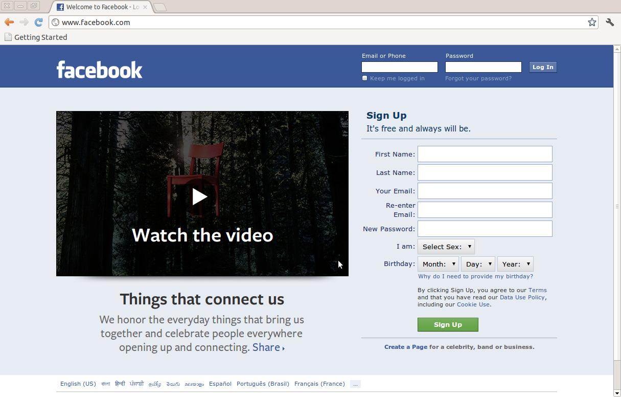 Default Facebook Login Page Changed in Linux Ubuntu